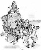 Немецкие солдаты потешаются над М3 Ли. Рис. А.Иванова